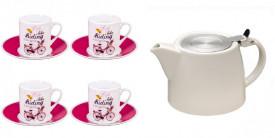 Set servire ceai (ceainic portelan + 4 cesti portelan)