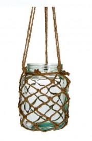 Vaza decorativa din sticla cu decor impletitura