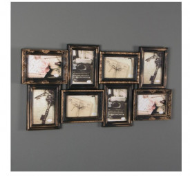 Rama vintage cu aspect de bronz, 8 cadre, 69x36x3 cm