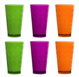Set pahare din sticla colorate - 6 buc