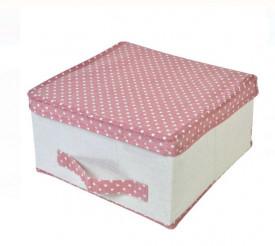Cutie de depozitare cu buline roz 30x30x16 cm.