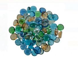 Pietre decorative din sticla transparenta - culori pastelate - 340 gr