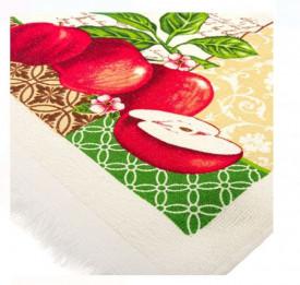 Prosop de bucatarie ecru cu modele de mere si franjuri scurte