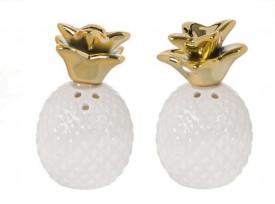 Set solnita de sare și piper din ceramică în formă de ananas alb cu frunze de aur