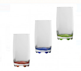 Set 3 pahare de sticla colorat - 350ml