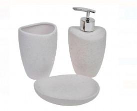 Set baie ceramica efect nisip 3 bucati