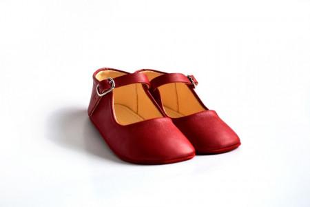 Slika Kožne sandale za bebu / crvene