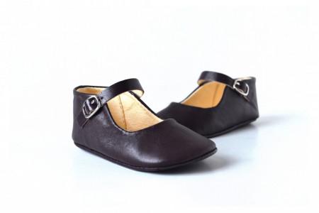 Slika Kožne sandale za bebu / tamno ljubičaste