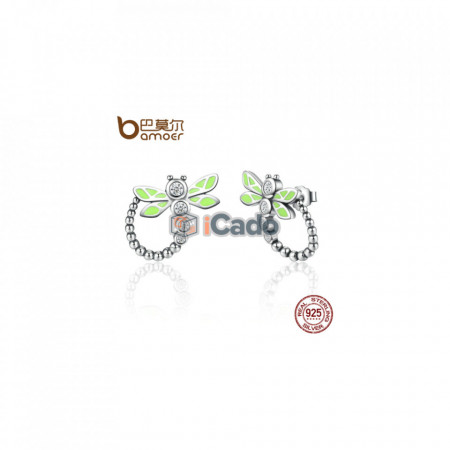 Cercei din argint Vivid Green Dragonfly - BAMOER 925