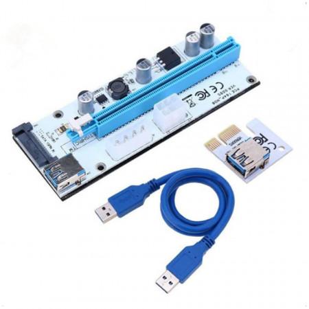 Riser PCI-E, Ver. 008s, 1x to 16x, 4, 6 pini / S-ATA, USB (adaptor / prelungitor) poza 1
