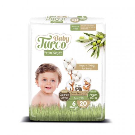 Scutece bumbac, Vegane Baby Turco pentru Copii între 16 și 25 Kg Numărul 6 Set de 20 bucăți