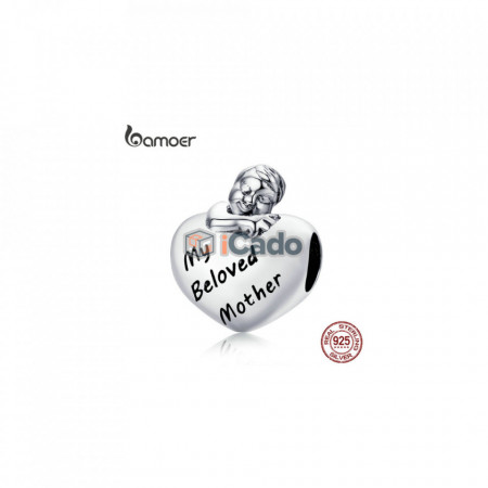 Talisman din argint My Beloved Mother Engrave Baby Boy - BAMOER Authentic 925