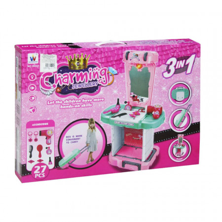 Poza din spate cutie troler makeup 3 în 1 cu 27 accesorii, oglindă și feon funcțional