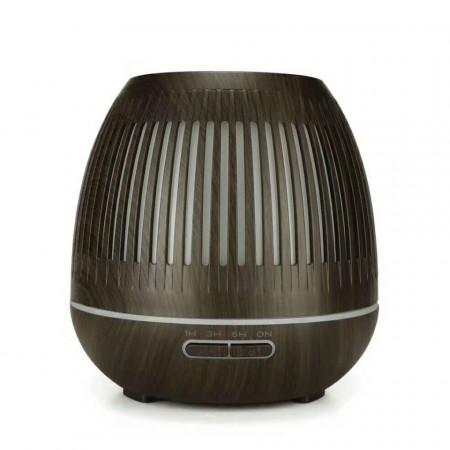 Umidificator, Difuzor de Aromă maro închis, Aromaterapie de 400 ml cu telecomandă și 7 culori. Umidificator cu difuzor cu ultrasunete. Material: ABS + PP