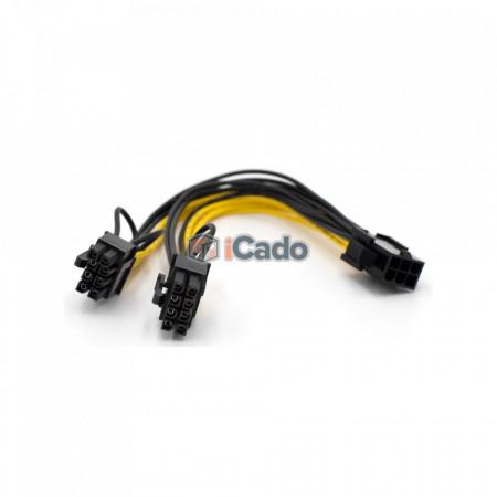 Adaptor / Conector PCIE din 6 Pin în 2 x 6+2 Pin poza 3
