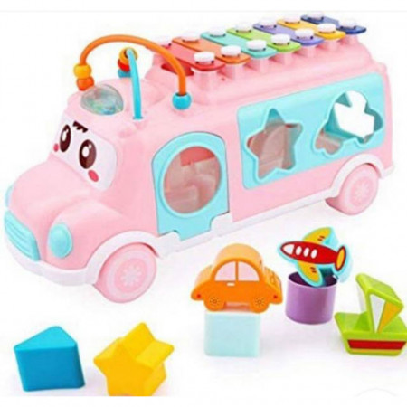Autobuzul fericit cu sortator, forme geometrice și xilofon pentru copii de 3 ani+