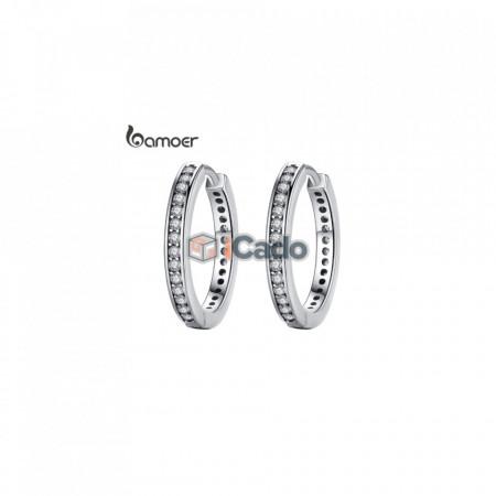 Cercei din argint CZ Simple Female Hoop Silver - BAMOER 925 Sterling Silver