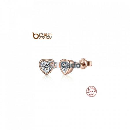 Cercei din argint One Love Stud Earrings with Clear CZ - BAMOER 925
