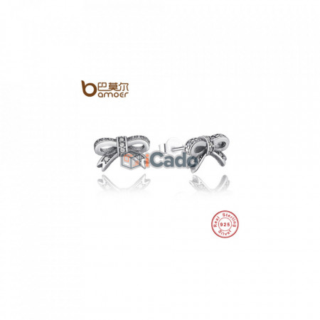 Cercei din argint Sparkling Bow Stud Earrings With Clear CZ - BAMOER 100% 925