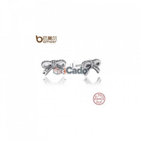 Cercei din argint Sparkling Bow Stud Earrings With Clear CZ - BAMOER 100% 925