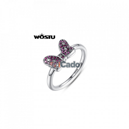 Inel din argint Mouse's Sparkling Bow Party Ring With Red CZ - WOSTU 925
