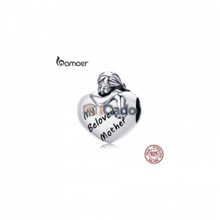 Talisman din argint My Beloved Mother Engrave Baby Girl - BAMOER Authentic 925