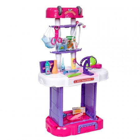 Trusă Doctor copii 3 în 1 cu 38 accesorii Troler, model W087