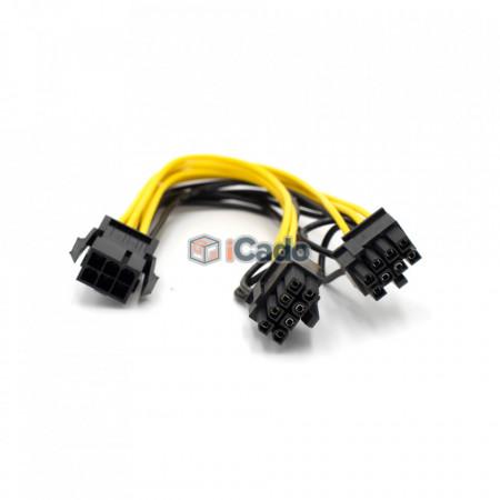 Adaptor / Conector PCIE din 6 Pin în 2 x 6+2 Pin poza 1