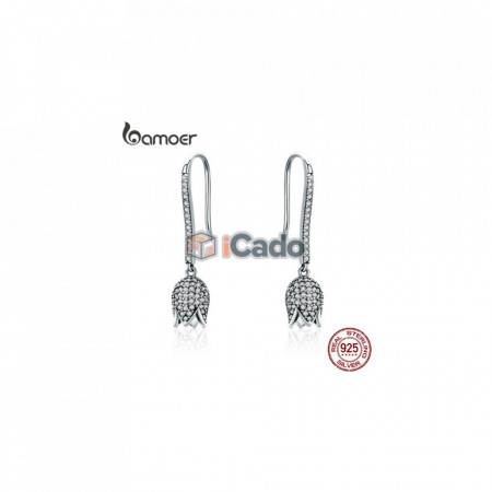 Cercei din argint Dazzling CZ Tulip Flower Petal - BAMOER 925