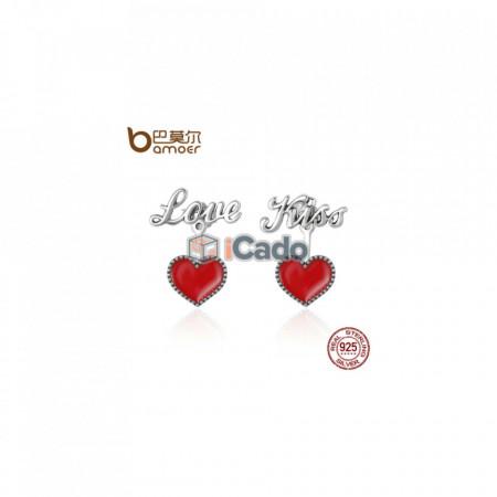 Cercei din argint Red Heart Love & Kiss Letter Stud