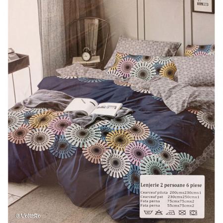 Lenjerie de pat cu 6 piese din bumbac finet dimensiune 250 x 230 cm LP6PF-8