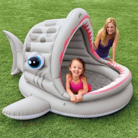 Piscină gonflabilă cu acoperiș pentru copii marca Intex, dimensiune 201 x 198 x 109 cm formă de Rechin poza 2
