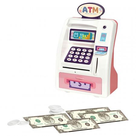 Pușculiță bancomat ATM roz cu sunete și funcții reale model WF-3005R