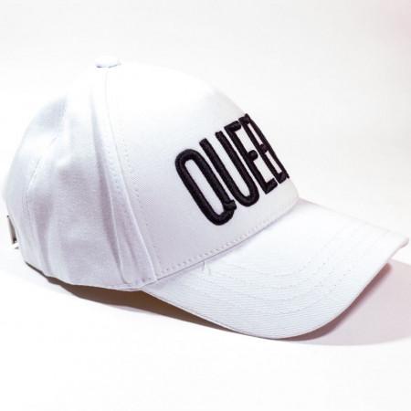 Șapcă albă cu logo Queen negru model nou
