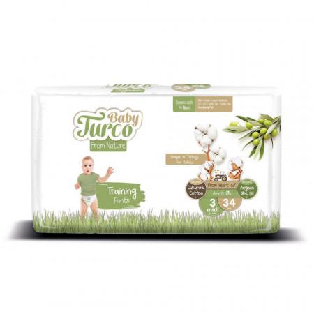 Scutece Chiloțel bumbac, Vegane Baby Turco pentru Copii între 5 și 9 Kg Numărul 3 Set de 34 bucăți