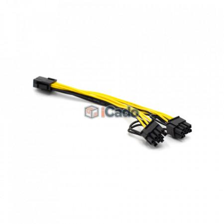 Adaptor / Conector PCIE din 6 Pin în 2 x 6+2 Pin poza 2