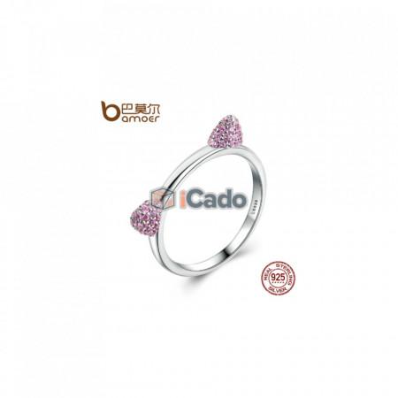 Inel din argint Cute Cat Ears Pink CZ - BAMOER 100% 925