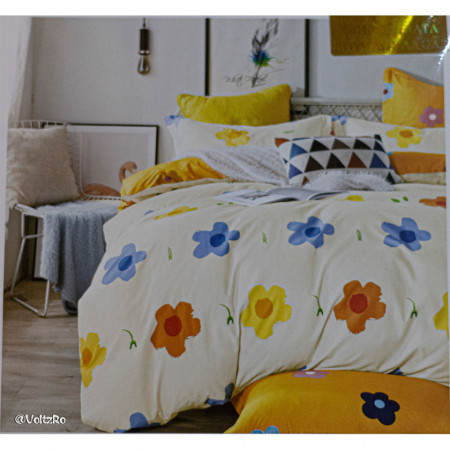 Lenjerie de pat cu 6 piese din bumbac satinat 250 x 230 cm LP6P-21