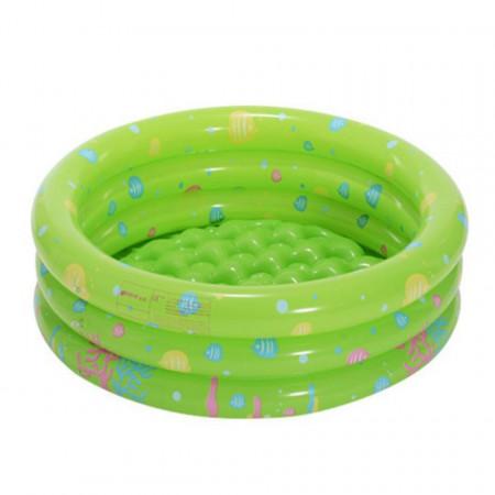 Piscină pentru copii marca InTime, dimensiune 100 x 40 cm cu3 inele verde