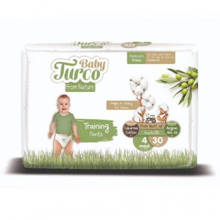 Scutece Chiloțel bumbac, Vegane Baby Turco pentru Copii între 8 și 14 Kg Numărul 4 Set de 30 bucăți