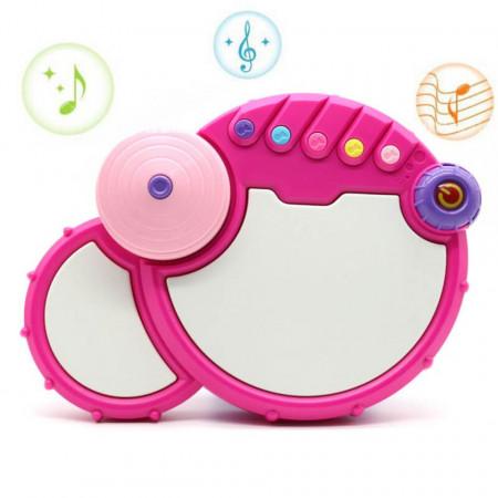 Tobă electronică roz pentru bebeluși model 555-2