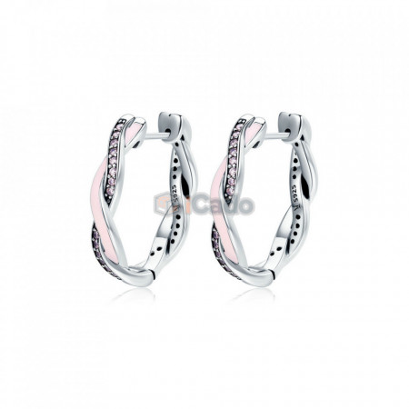 Cercei din argint Twist Of Fate Hoop Pink - BAMOER Authentic 100% 925 Sterling Silver