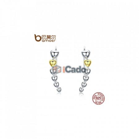 Cerceri din argint Gold Color Heart Shape Long Drop - BAMOER Authentic 925