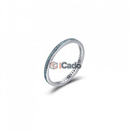 Inel din argint Luminous CZ Round - BAMOER Authentic 925 albastru