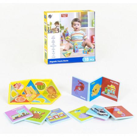 Joc magnetic cu 18 piese, Magnetic Cubes, model HD351A