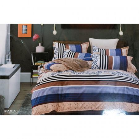 Lenjerie de pat 2 persoane cu 6 piese din bumbac finet dimensiune 240 x 220 cm LP6PF-42