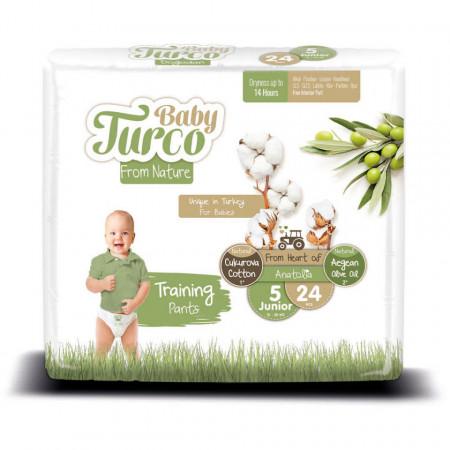 Scutece Chiloțel bumbac, Vegane Baby Turco pentru Copii între 12 și 25 Kg Numărul 5 Set de 24 bucăți