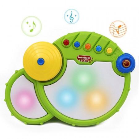 Tobă electronică verde pentru bebeluși model 555-1