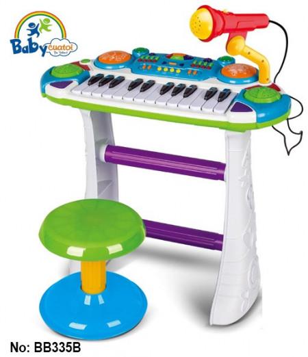Orgă cu microfon și scăunel pentru copii de 3 ani+ Cod BB335B poza 1