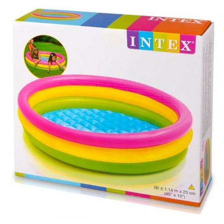 Piscină pentru copii marca Intex, dimensiune 114 x 25 cm, multicolor cu3 inele poza 3